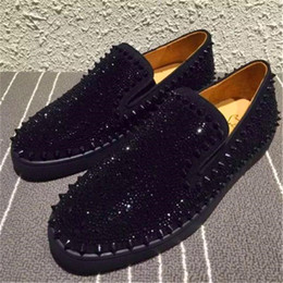 Wholesale Platforms Sneakers For Women - Loafers For Men Women,Suede Leather Slip Platform Sneakers Casual Spikes Wedding Party Flats Shoes 36-46