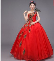 Wholesale Wedding Dress Peacock Train - New Arrival Hot Sale Elegant Luxury Princess Married Embroidered Peacock Angel Single Shoulder Red Diamond Gown Bridal Wedding Dress