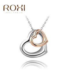 Wholesale Gold Peace Sign Necklace Wholesale - Top Quality ROXI Brand New Lover Gift Double Heart Pendant For Couple Silver Peace Sign Necklace Clavicle Necklace Woman Jewelry