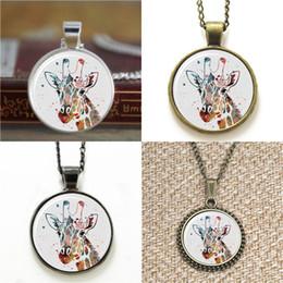 Giraffen armband online-10pcs Giraffe Abbildung Kunst Glas Foto Halskette Schlüsselanhänger Lesezeichen Manschettenknopf Ohrring Armband