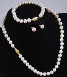 Wholesale Onyx Pearl Earrings - Natural 7-8MM White Akoya Cultured Pearl Necklace Bracelet Earring Set
