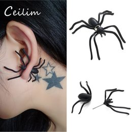 Wholesale Fshion Earring - 2017 Fshion 1pcs Halloween Black Spider Charms Stud Earrings For Eveing Party Statement Earrings Novelty Toys New Hot Sale Hip Hop Jewelry