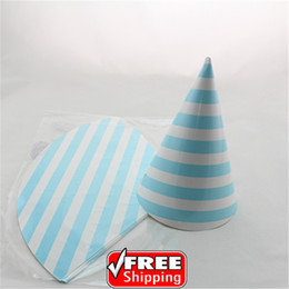 Wholesale Cheap Baby Decorations - Wholesale-24pcs Choose Your Colors Birthday Light Blue Striped Paper Party Hats Cheap-Baby Boy Shower Wedding Decorations Headpiece Caps