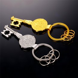Wholesale Saints Rings - Saint Benedict (San Benito) Home Blessing Medal in Key Design key chains luxury religious Gold Silver miraculous Key rings K102