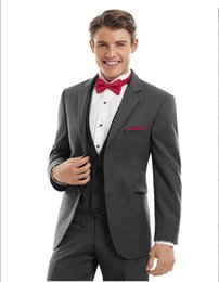 Wholesale Elegant Black Suits For Men - 2017 Gray Groomsmen Wedding Suits Slim Fit Tuxedos For Men Elegant Men Party Prom Suits Sets(Jacket+Vest+Pants+