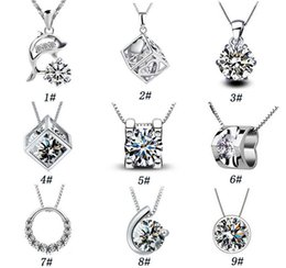 Wholesale Sterling Silver 925 Cube Wholesale - 925 sterling silver jewelry fashion Magic Cube with silver pendant necklace item ornaments wholesale belief Valentine's Day to send his