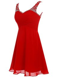 Wholesale Girls Lace Dress Brooch - Cheap Prom Homecoming Dresses short Gowns 2016 Vestido Festa Amarelo Red Chiffon Short Graduation Dress for Girls Special Occasion Dresses