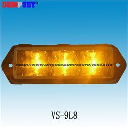 Argentina VS-9L8-Y Super brillante LED luces de la parrilla, luces de emergencia de rescate, DC12V / 24V Ámbar LED montaje en superficie Strobe Warning Flashing Light Suministro