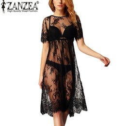 Wholesale Ladies See Through Dresses - Wholesale- Fashion 2017 Summer Sexy Women Lace See Through Short Sleeve Black Beach Dress Ladies Casual Loose Vestidos Hot Sale