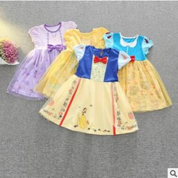 Wholesale Girls Floral Shorts Wholesale - Cartoon Princess Dress Snow White Belle Dress Girl Cartoon Beauty and the Beast Birthday Party Dresses Baby Cotton Floral Tulle Dress 669