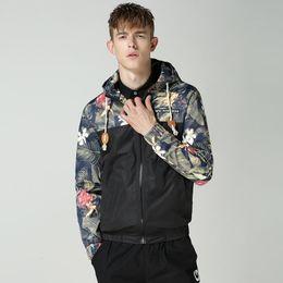 Wholesale Floral Hoodie Men - M-4XL Man's Hooded Hoodies Patchwork Hooded Mens Jackets Floral Windbreaker Jacket Men Fashion Bomber Jacket
