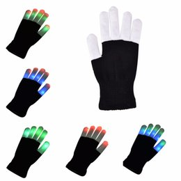 Wholesale Luminous Rave - Wholesale- 1 PCS LED Glow Gloves Rave Light Up Flashing Finger Lighting Mittens Magic Black luminous Gloves Kids Children Toys Supplies