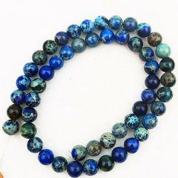 Wholesale 8mm Jasper Beads - YZ133 8mm dark blue Sea Sediment Jasper&Pyrite Round loose bead 15.5 inch