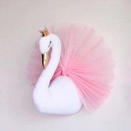 Wholesale Crown Room - Cute 3D Golden Crown Swan Wall Art Hanging Girl Swan Doll Stuffed Toy Animal Head Wall Decor for Kids Room Birthday Wedding Gift