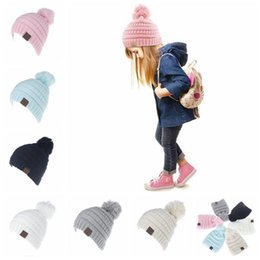 Wholesale Hat Beanie Kids - 6 Colors CC Trendy Beanie CC Knitted Hats Kids Chunky Skull Caps Winter Cable Knit Slouchy Crochet Hats Fashion Outdoor Hats CCA6816 100pcs