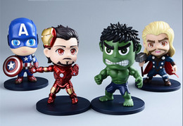 Wholesale Cute Pink Gift Box - 11cm Q Version The Avengers PVC Figures Cute Hulk Iron Man Captain America Thor Doll Super Hero Toy Best Gift With Box