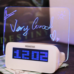 Wholesale Power Supply Alarm - Wholesale-Multifunctional Highstar Electric Clock with Memo Board Blue Light Display Power By AAA battery for Gift Home Supplies