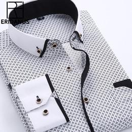 Wholesale Men Button Down Shirts Wholesale - Wholesale- Big Size 4XL Men Dress Shirt 2016 New Arrival Long Sleeve Slim Fit Button Down Collar High Quality Printed Business Shirts M014