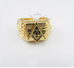 Wholesale One For Hip - promotion star rings men Gold Plated Hip Hop Ring Golden Medusa Masonic Rings Punk Rock Jewelry Anillos Bar Club One Ring For Wedding Gift