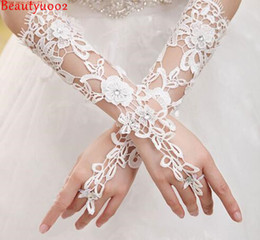 Wholesale Gown Gloves Stockings - In Stock White Lace Long Wedding Goloves With Rhinestone Appliques Fingerless Elbow Length Women Lace Up Bridal Accessories Gowns 2017