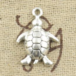 Wholesale Tibetan Silver Tortoise Charms Pendants - Wholesale-99Cents 15pcs Charms tortoise turtle sea 13*19mm Antique pendant fit Vintage Tibetan Silver DIY bracelet necklace