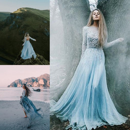 Wholesale Blue Womens Pageant Dresses - Elegant Oscar Evening Dresses A Line Sky Blue Backless Appliqued Party Pageant Gown Floor Length Custom Made Womens' Formal Wear