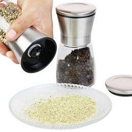 Wholesale Salt Pepper Set Wholesalers - (10 Piece) FREE SHIPPING High Quality Glass Pepper set Salt Herb Spice Hand Grinder Mill manual pepper salt and pepper grinder spice grin