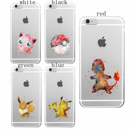 Wholesale Wholesale Iphone Anime Case - Anime Cartoon Pocket Monsters Pikachue Soft Transparent TPU Cover Case for iPhone 4 4s 5 5s 5c 6 6s Plus Samsung