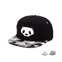 Wholesale cartoon cowboy hats - Brand new High-grade cotton cartoon hip-hop hat men's rubber three-dimensional panda flat along the baseball hat SMB048