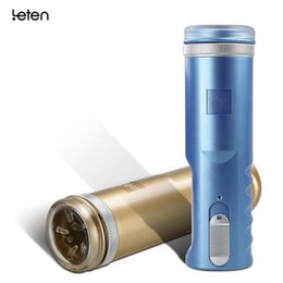Wholesale Oral Cup - Leten X9 Auto Retractable Male Penis Massager Automatic Piston Aircraft Cup Gold Blue Tow Color Sex Toys For Men Oral Sex