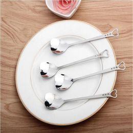 Wholesale Coffee Spoon Favors - Lovers Heart Shaped Love Coffee Tea Measuring Spoon Wedding Lover Favors Stainless Steel Dinner Tableware 2 in1 Coffee Spoon