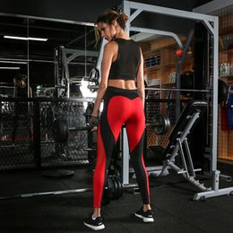 Wholesale Color Mix Pants - New women's sports fitness training sexy love red and black splicing and tiled yoga pants female