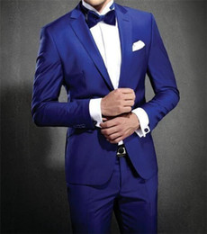 Wholesale Grooms Tuxedos Wedding Royal Blue - Two Piece Royal Blue Wedding Groom Tuxedos for Men 2017 Notched Lapel One Button Custom Made Mens Suits (Jacket + Pants)