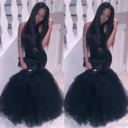 Wholesale Sexy Corset Halter Strap - Sparkly Black Girls Mermaid African Prom Dresses 2017 Halter Neck Sequins Tulle Sexy Corset Formal Dress Cheap Party Pageant Gowns
