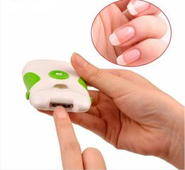 Wholesale Electric Nail File Accessories - Professional Green Electric Nail Trimmer Clipper Nail File Manicure Pedicure Sets Easy Dual Sides Nail Art Beauty Accessory Tool
