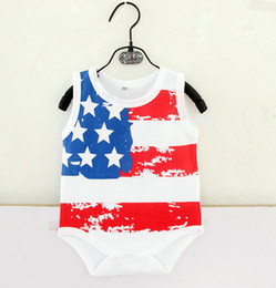 Wholesale Flag Stars - Baby Rompers American Flag Summer Baby Jumpsuits One-piece Garments Stars Stripes Letters Sleeveless Sweater 0-18M Style C
