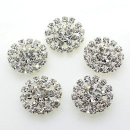 Wholesale Crafts Wholesale Factory Direct - 100pcs 19mm Round Metal Crystal Rhinestone Button Wedding Decor Embellishments Crafting DIY Hair Accessory Factory Direct