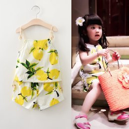 Wholesale Summer Baby Girl S - New Children 'S Clothing Girls Summer Fruit Lemon Print Halter Top +Short Pants Suit Two Baby Clothes Sets Free Shipping