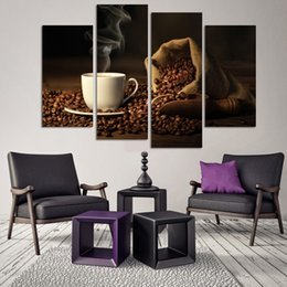 Wholesale Cup Coffee Pictures - 4pcs set Coffee (No Frame) Brown Coffee Bean and White Cup Wall Art Oil Painting On Canvas Paintings Picture Decor Living Room