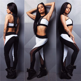 Wholesale White Peplum Pants - Women sport running two piece set sexy crop top and pants patchwork camouflage yoga fitness gym clothing womens jogging suit HGE