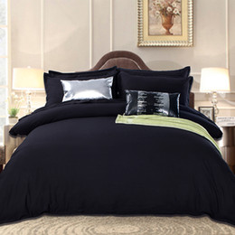 silk tencel duvet covers Promo Codes - Wholesale- Black Bedding Set in King Queen Size Luxurious Silk Bed Set Duvet Cover Flat Bedsheets Tencel Cozy Bedroom Textile Jogo de Cama