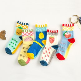 Wholesale Cute Korean Products - Wholesale- Wholesale 2015 Korean new product casual cute lovely cartoon fruit diamond plaid ladies socks meias femininas sokken chaussette