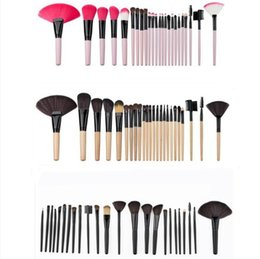 Wholesale Wholesale Wooden Goods - 24pcs professional makeup brushes 3 colors mini Cosmetic Brush kit tools with Wooden Wood Handle Synthetic Hair Makeup Kits DHL GOOD QUALITY