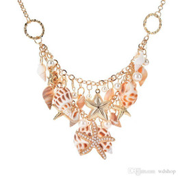 Wholesale Sea Shell Mother Pearl Pendant - Sea Style Gold Color Big Starfish Statement Necklaces pearls Choker Conch Shell Pendants Necklaces For Women summer beach jewelry