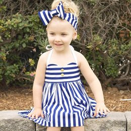 Wholesale Lace Ruffle Girls Dress Headband - Baby Dresses Stripe Dress+Bows Headband 2 pcs,Girl Suspender Dress Summer Baby Fashion Cloting for 0~5Y
