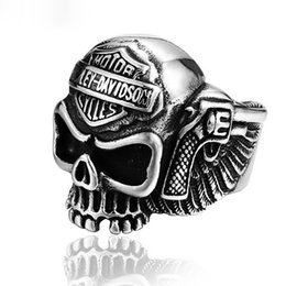 Wholesale Stainless Skull Rings - Europe and the United States retro jewelry 316 stainless steel men's personality Skull Ring
