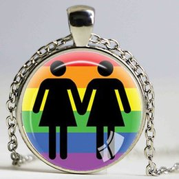 Wholesale Lesbian Sex Gifts - Gay Pride Necklace Same Sex Lgbt Jewelry Gay Lesbian PrideWith Rainbow Love Wins Gift Same Sex Marriage Equal Marriage