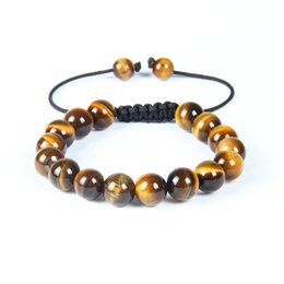 Wholesale rope weaves - Fashion Mens Shamballa Woven Bracelet 10pcs High Quality 10mm Tiger Eye Stone Bead Jewelry For Gift