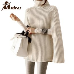 Wholesale Long Sleeve Casual Shrugs - Wholesale-Women Turtleneck Sweater Pullover Female Oversize Blouse Winter Batwing Sleeve Knitted Poncho Autumn Knitting Shrug Outerwear