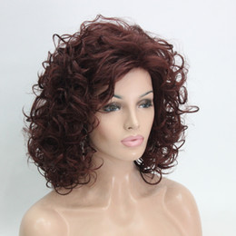 Wholesale Cute Red Wigs - Hivision 2017 new sexy ladies fashion health super Cute Cosplay red auburn Curly Medium Women's Full Wig
